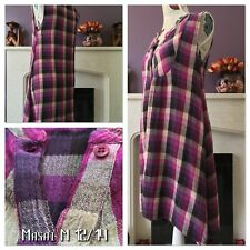Masai M 12/14 Purple Pink Ivory Check Dress Dippy Hem Button Front Lagenlook