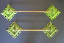 2 Sets of Vintage 1965 Syroco Ornate Green Towel Bar Custom Holder Supports