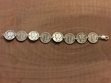 """MERCURY DIME Coin Jewelry BRACELET 7.5"""" 90% Silver With .925 Links! Obv/Rev"""