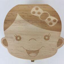 Homya Wooden Milk Baby Tooth Keepsake Box Organizer Deciduous Souvenir Girl
