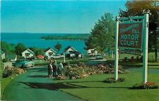 Rockland ME~Older Couples in Garden~Strawberry Hill Motor Court~1950s~Postcard
