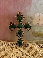 Vintage Costume Jewelry Cross crucifix Pendant Necklace gold tone green stones