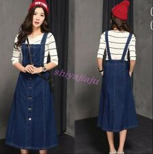 2017 New Fashion Womens Casual Denim Suspender Skirt Girls Slim Long Jean Dress