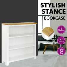 vidaXL 3-Tier Solid Oak Wood Bookcase Display Storage Unit Living Room Rack