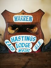 1960s Antique B.O.A.B Buffalos/Masonic  Collectible Plaque Horns Hastings Lodge