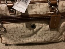 NWT Coach Signature Coated Canvas Bias Satchel 17179 Toffee (Brand New) With Tag