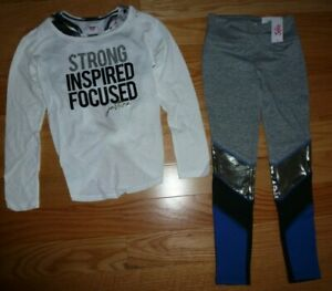 Justice Girls Outfit White Long Sleeve Shirt & Color Block Leggings Size 8 NWT