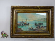 PAINTING OIL PICTURE LANDSCAPE frame golden painted NAPLES ALFONSO SARNO DECO XX