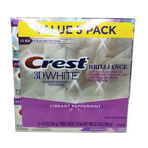 Crest 3D White Brilliance Toothpaste, Vibrant Peppermint, 4.1 oz (116 g), 3-Pack