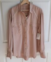 NWT Free People Womens Cream Off Campus Button Down Shirt Top Blouse Size Medium