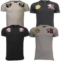 Mens T Shirt Brave Soul Short Sleeved Top Tiger Skull Rose Applique Patch Summer