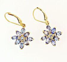 9ct Yellow Gold Tanzanite & Diamond Floral Cluster Earrings (16mm Diameter)