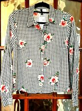H&M DIVIDED Ladies Black Floral Check Long Sleeve Shirt Blouse UK 12