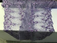 Embroidered Floral/Flower Mesh & Pearls By The Yard Lace Fabric Lilac