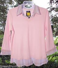 MARKS & SPENCER Womens Pale Pink Oxford Shirt with Trim US Sz 14 100% Cotton NWT