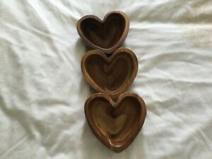 3 WOODEN HEART SHAPED BOWLS