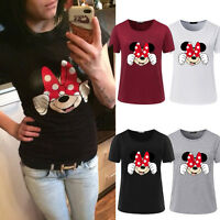 Womens Girl Minnie Mouse T-shirt Short Sleeve Tops Casual Slim Fit Blouse Shirts