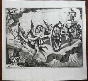 Prophet Ezekiel Fiery Chariot Angels River Chebar 18th Century engraved print