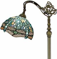 Floor Lamp with Ocean Blue Stained Glass Lampshade