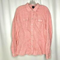 Blue Saks Fifth Avenue Womens Linen Shirt Size XL Pink Button Up Roll Tab Sleeve