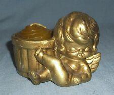 Vintage Gold Porcelain Angel Votive Candle Holder 1970's Look Christmas Decor