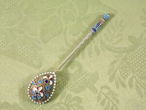 "RUSSIAN ""84"" SILVER & ENAMEL SPOON ~ PAVEL DMITRIEV"
