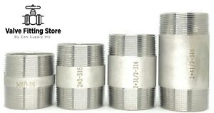"2"" inch Long PIPE NIPPLE NPT Stainless Steel 316 ALL Length Barrel Nipple MNPT"