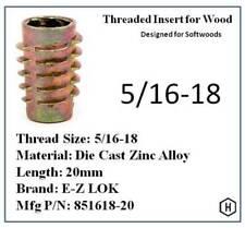 Ez Lok 516 18 Die Cast Zinc Alloy Hex Drive Threaded Insert For Wood 25 Pcs