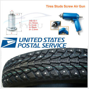 1000 Pcs Winter Wheel Tire Studs Screw Snow Spike Stud w Nail Air Gun Tool Kit