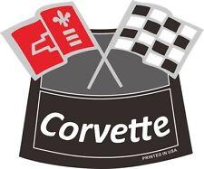 CORVETTE FLAGS CHROME AIR CLEANER DECAL Chevy Chevrolet Air Cleaner NEW WHITE