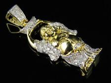 """10k Oro Amarillo Laughing Buddha con Cuenco Diamante 1.5"""" Charm Colgante 0.50ct"""
