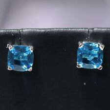 Sparkling Princess Blue Aquamarine Earrings 925 Sterling Silver Anniversary Gift