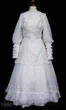 Vintage robe de mariée 1970 S Thé Longueur Dentelle Boho EDWARDIAN 10 638 Cosplay