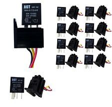10x 12V 30A Amp 4 Pin Auto Harness Fuse Relay Aux Car Lights + 4 Wire Socket