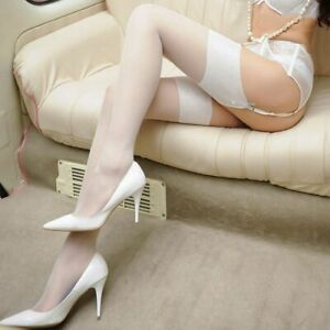 Wide Rib Top Cuff Sexy Women Stockings Transparent Silk Ladies Thigh High Medias
