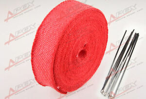 """FIBERGLASS Exhaust Thermo Wrap Tape High Heat 2"""" x 1/16X50FT Cloth Roll RED F"""