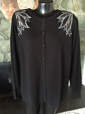 Bob Mackie Embellished Black Cardigan Sweater Silver Sequins Wearable Art QVC 1X
