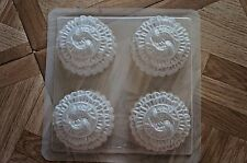 4 Chinese Mooncake Rounded Fishes Jello Steam Pudding Dessert Plastic Mold