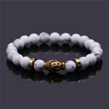Men's Natural White Turquoise Stone Gold Buddha Beaded Charm Lucky Bracelet 8mm