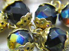 † STUNNING VINTAGE GOLD DOUBLE CAPPED & PEACOCK BLACK AURORA BOREALIS ROSARY †