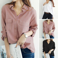 Women's Long Sleeve Buttons Down Shirt Tops Lapel Turn Down Collar Blouse Plus