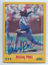 Pascual Perez (deceased) signed 1988 Score baseball, Montreal Expos autograph