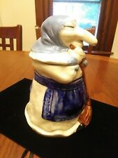 "Vintage Kitchen Witch Cookie Jar baba yaga halloween 8 1/2"" ceramic nice look!!!"