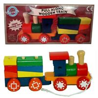 Pull Along Wooden Train Kids Toy Play Set Children Role Colourful Blocks Build