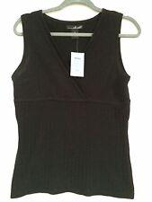 NWT WILL SMITH women's Sexy Sleeveless black V Neck Sweater Top size S