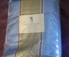 NEW Pottery Barn Kids Blue Striped HERRINGBONE Full Queen DUVET + 2 SHAMS