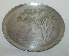 Arthur Armour/ Hammered Aluminum Tray/Country Church/ Winter Trees/ 8-3/4 inches