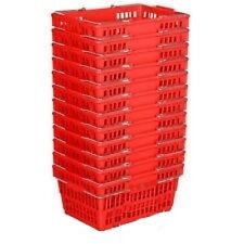 New 12 Standard Shopping Baskets - Chrome Handles - Red