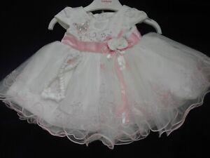 Ivory Pink Butterfly Flower Girl Easter Christening Fairy Princess Party Dress