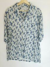 Columbia Shirt Men's XL Blue Rayon Linen Blend Floral Leaf Print